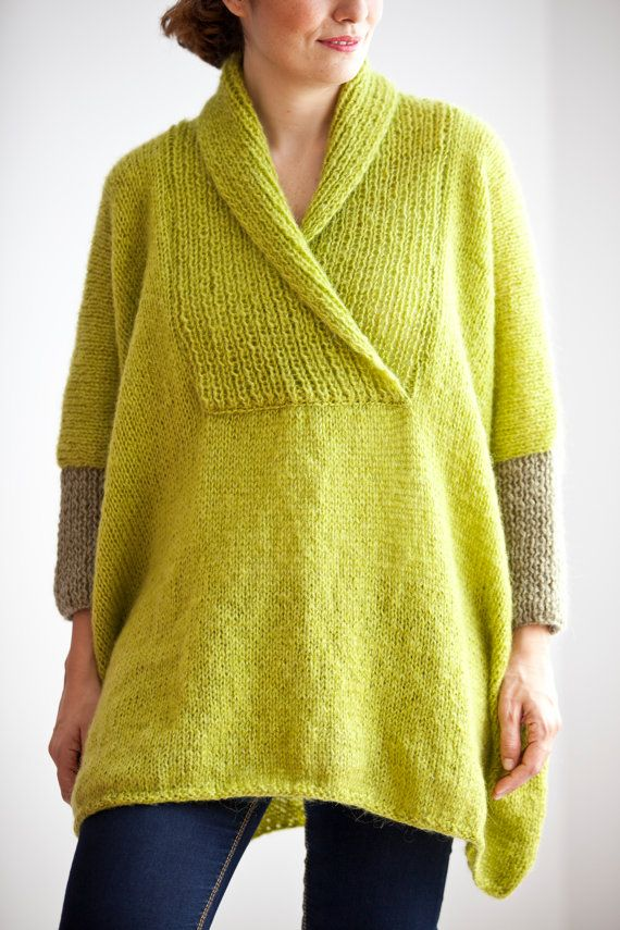 Items similar to Plus Size Hand Knitted Sweater - Poncho - Tunic - Dress by Afra on Etsy