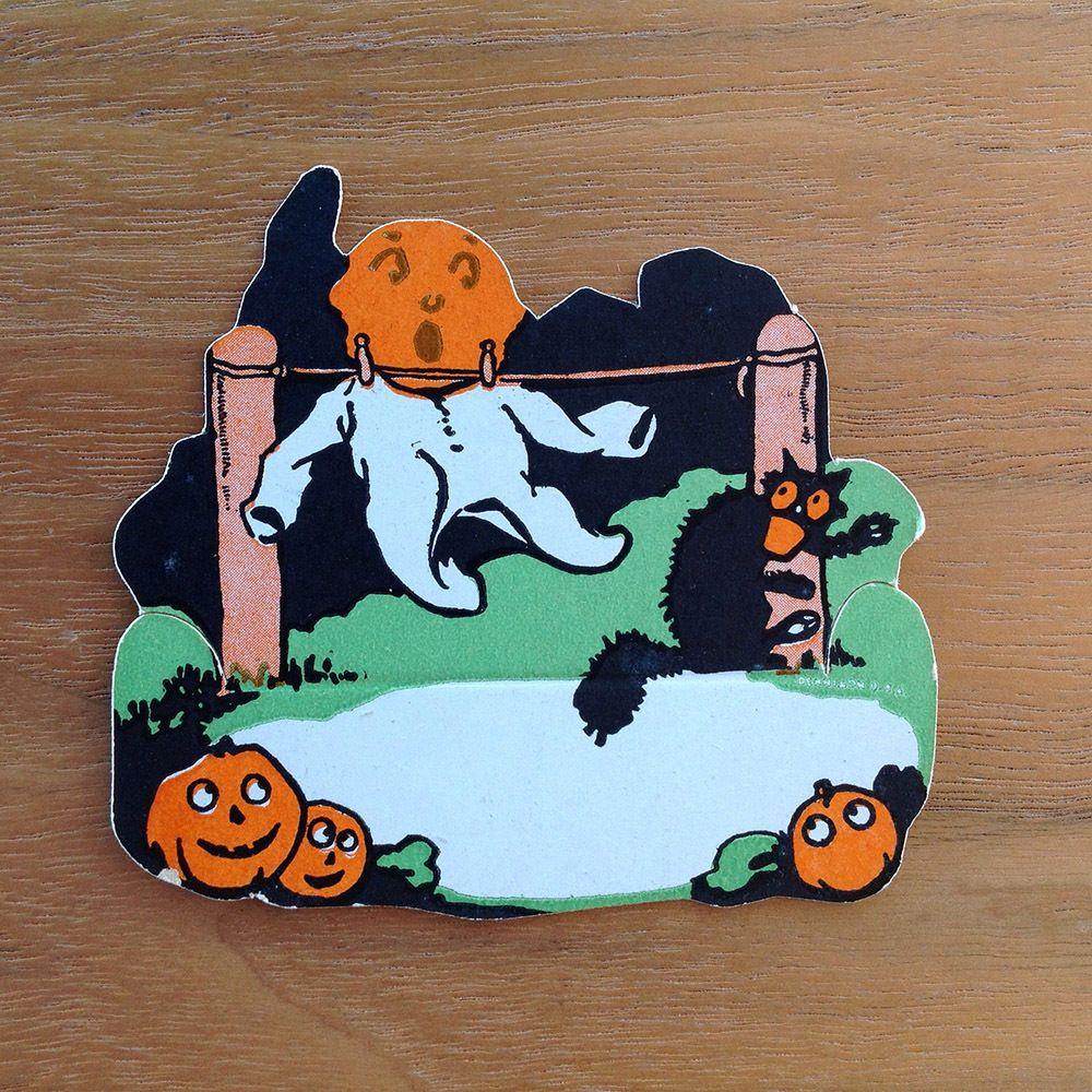 Vintage Halloween Dennison 1930s Black Cat Full Moon Ghost Pumpkin Placecard