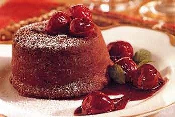 Molten Chocolate Cakes with Cherries