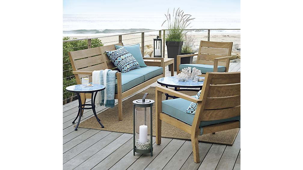 Regatta Sofa With Sunbrella Cushion Mineral Outdoor Furniture Decor Furniture Coffee Table Crate And Barrel