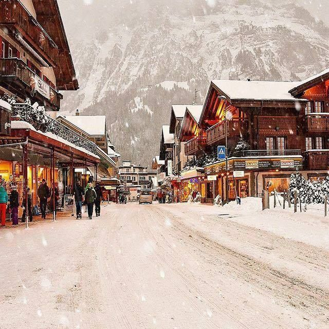 Small swiss town in snow