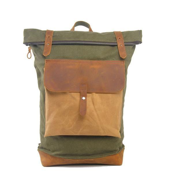 "3cb2feefd620 Big Leisure Leather Canvas School Bag IPAD 14"" Laptop Backpack 104 ..."