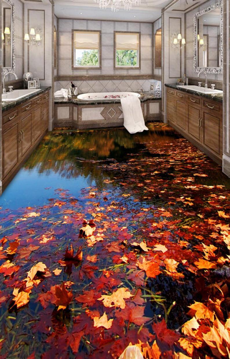 3d Flower Lake F627 Floor Wallpaper Murals Self Adhesive Etsy In 2020 Floor Wallpaper Floor Murals Master Bathroom Design