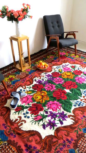 Kilim laine turkish kilim rugs vintage rose rug large area rug wool - Alfombras kilim madrid ...