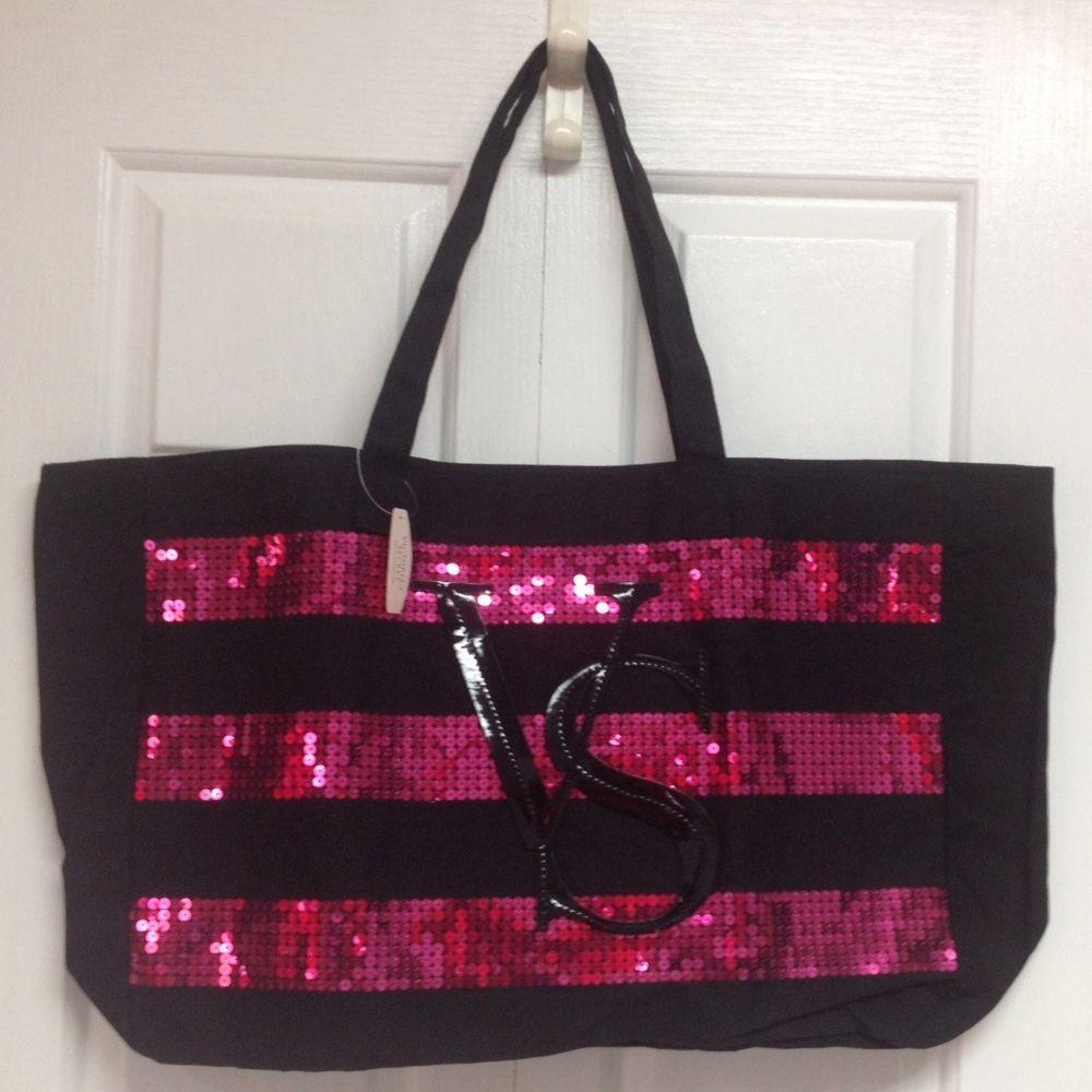 3c353b730b4a Victoria s Secret 2014 Black Tote Bag Pink Sequins Stripes Canvas Extra  Large  VictoriasSecret  TotesShoppers