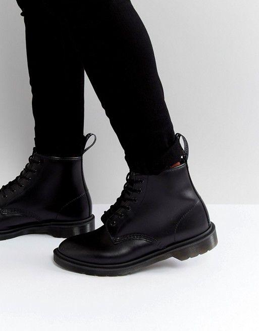 101 6 eye boot black smooth