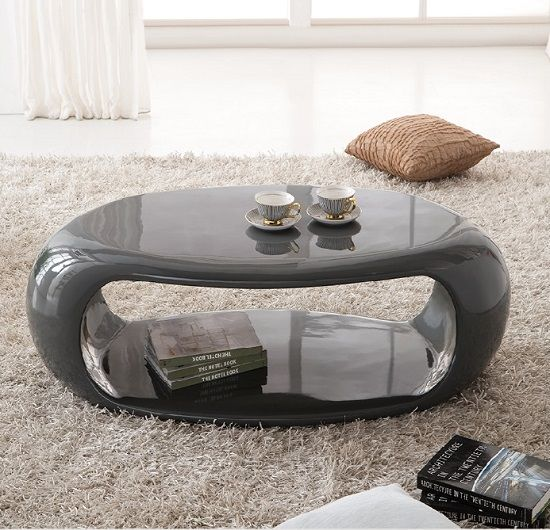Straas Curved High Gloss Coffee Table In Dark Grey 2019