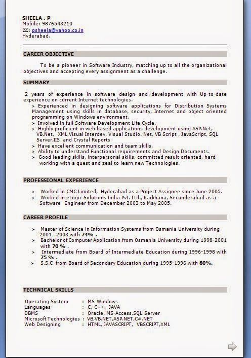 make a cv for job Sample Template Example ofExcellent CV / Resume - Resume Objective Sample