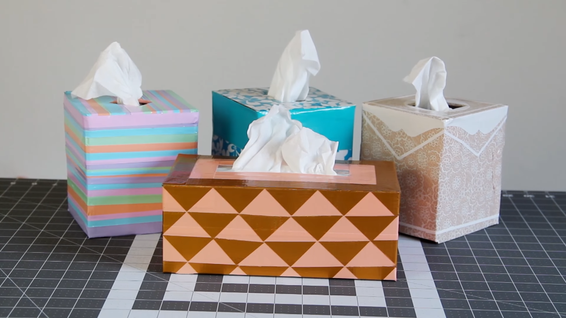 Diy Reusable Duct Tape Tissue Box Covers Cute Colorful Creative Handmade Home Decor Crafts Box Covers Diy Tissue Box Covers Covered Boxes