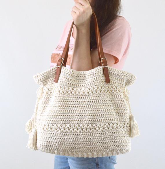 Bolso bohemio del estilo de ganchillo, ganchillo Tote Boho bolso, bolso de compras, bolso de la playa, regalo