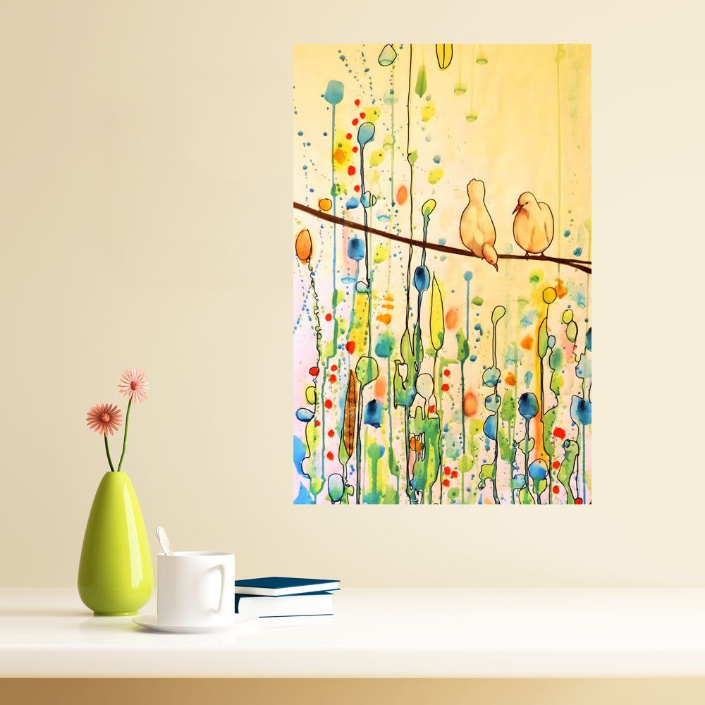 Wall painting stencils kids rooms floral bird art watercolor painting decal u you plus me by sylvie
