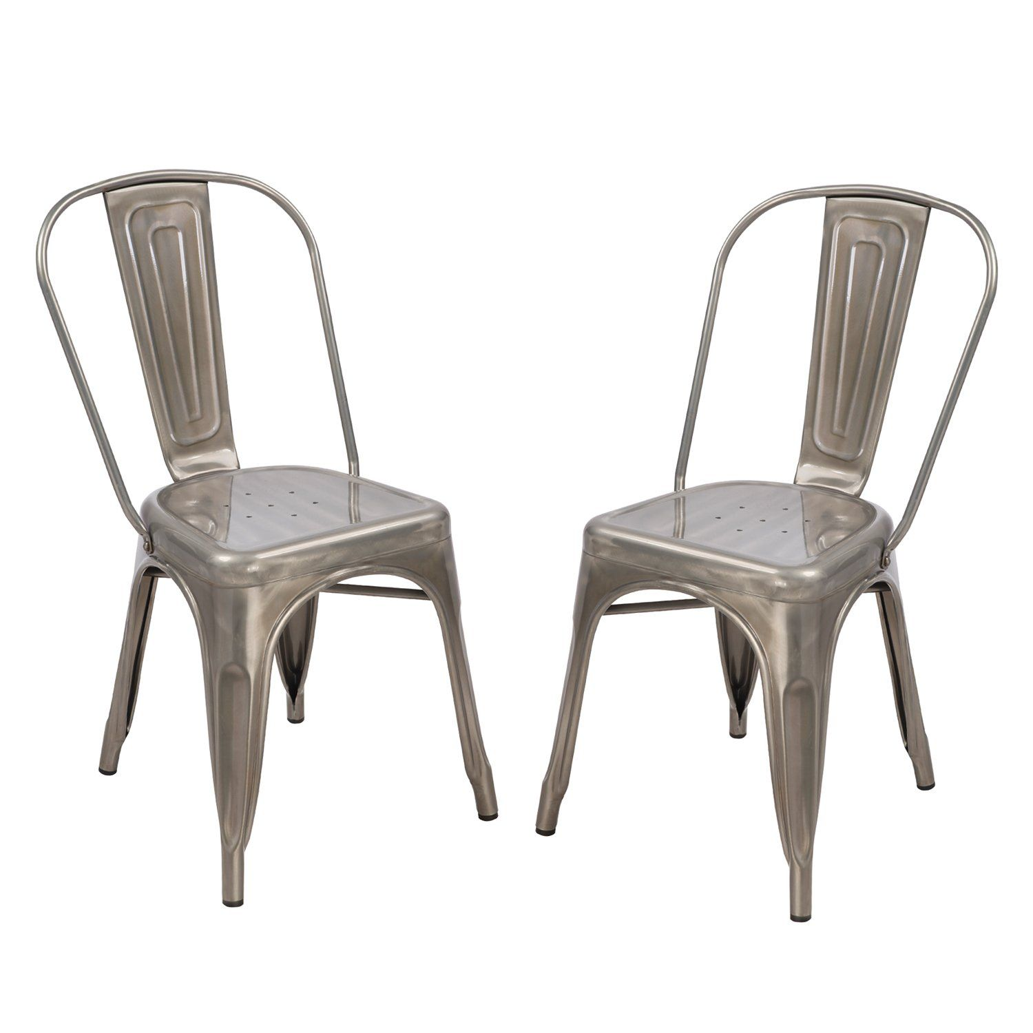 Amazon Dining Chairs: TOP SELLER! Adeco Silver Gunmetal Stackable