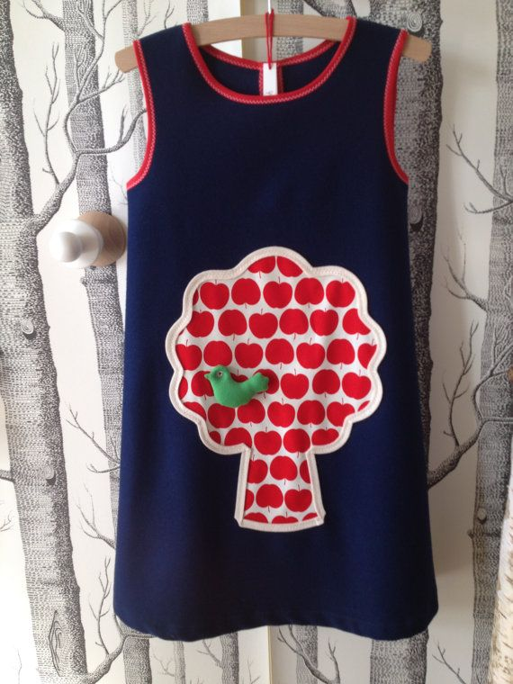 Beautiful wool dress/dress for girl/girls with Apple by lillepulle