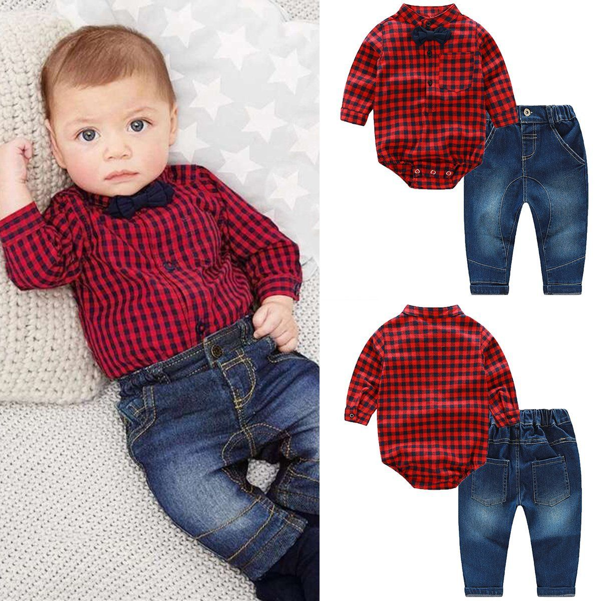 76817f81b  11.57 - 2Pcs Kids Baby Boys Gentleman Romper T-Shirt Tops+Denim ...