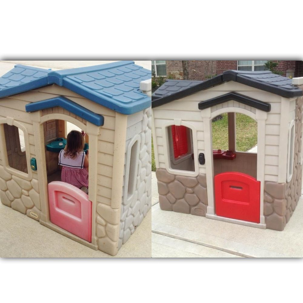 Little Tikes Playhouse Makeover Using Valspar Plastic Paint I Think This Is The One We Just Had Given To Us Last Summer Now Know What Do It