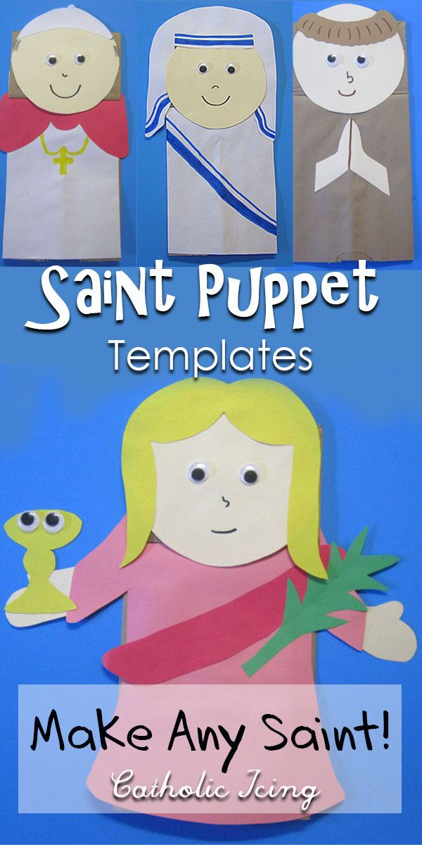 Saint Puppet Templates- You can make and Saint you want with these versatile Saint puppet templates! This is the perfect craft for Catholic kids for All Saints' day or nearly any feast or season! #catholicicing #catholiccraft #catholickids #liturgicalliving #catholic #saints #allsaintsday #allsaints #saintsforkids