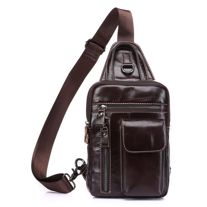 2017 Retro Cow Genuine Leather Messenger Bags Men Casual Chest Bag Crossbody Shoulder Bag for Man Sacoche Homme Bolsa Masculina