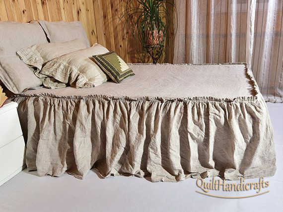 Bed Coverlet Drop Length 28 71cm Linen Skirt Dust Ruffle Natural Bedspread Ruffled French
