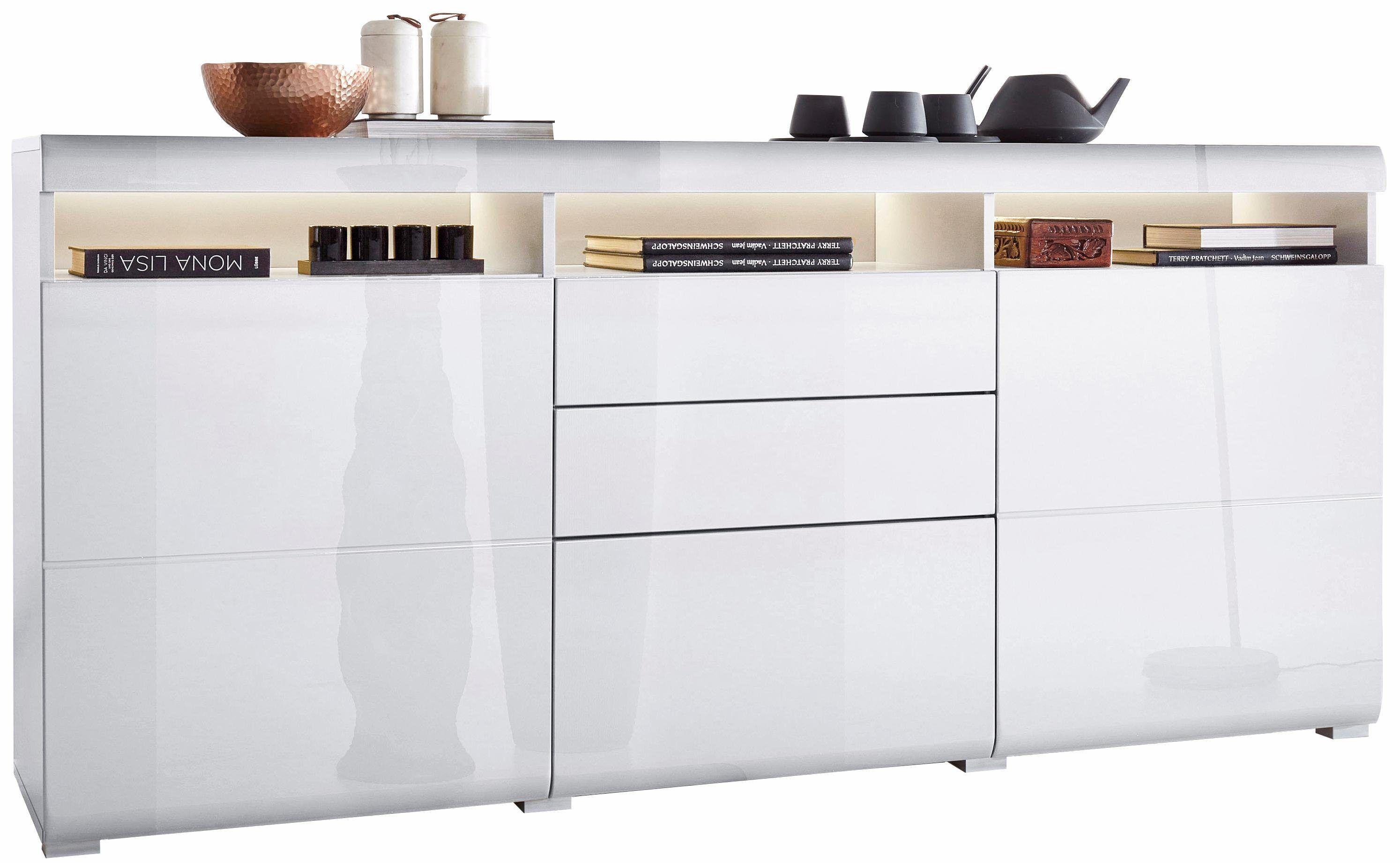 ROOMED Sideboard Weiß, Hochglanz Fronten, Push To Open Funktion,  FSC® Zertifiziert Jetzt Bestellen Unter: ...