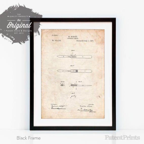 Surgical Knife Patent Poster, Doctor Office Decor, Surgeon Gift, Vintage Medical Poster, Hospital De #doctoroffice