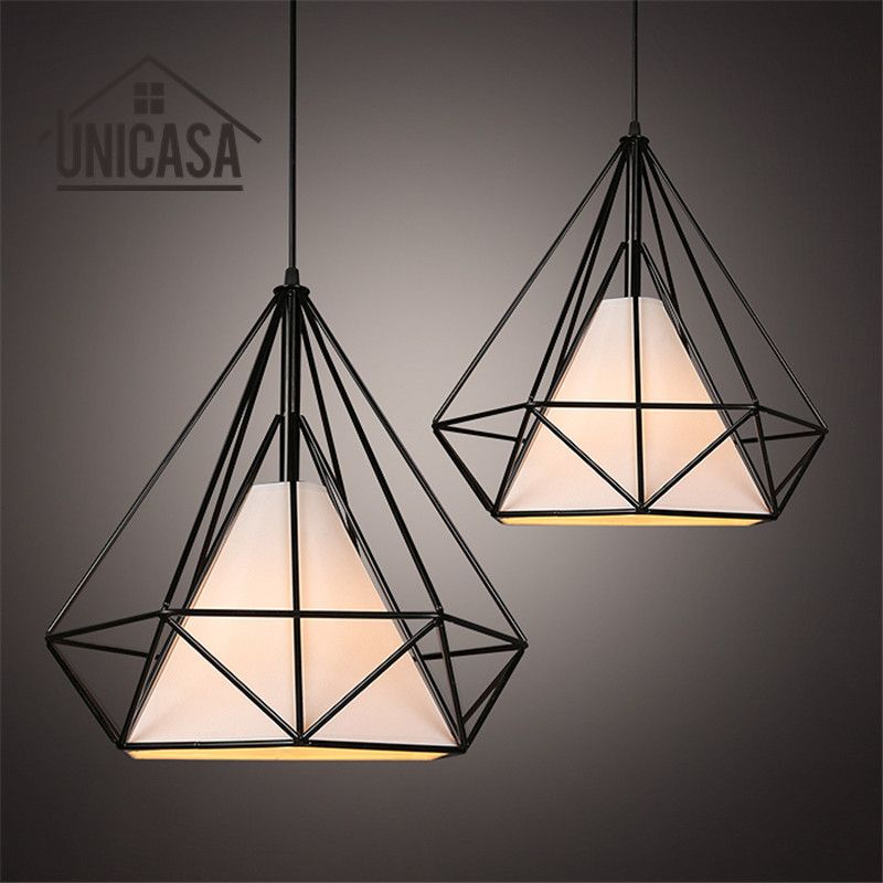 Black Shade Wrought Iron Lighting Fixtures Modern Pendant Lights