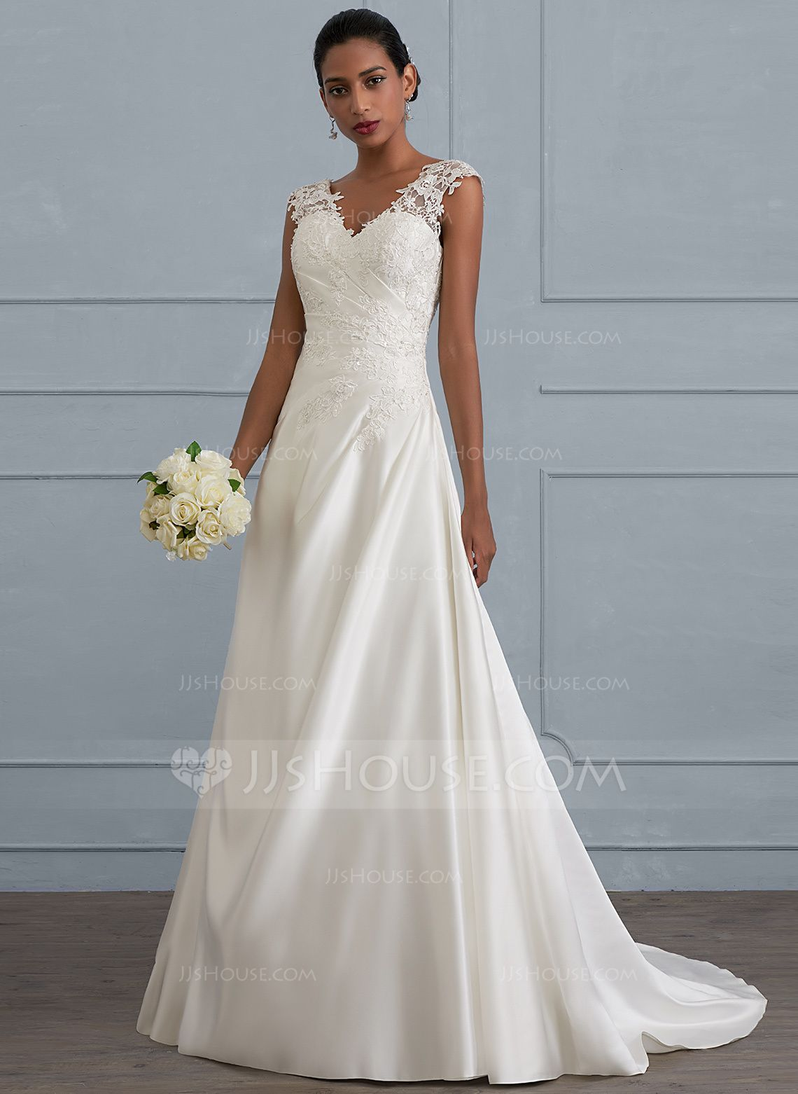 Us 231 00 Ball Gown Princess V Neck Sweep Train Satin Wedding Dress With Ruffle Beading Sequins Jj S House Best Wedding Dresses Bridal Dresses Ruffle Wedding Dress