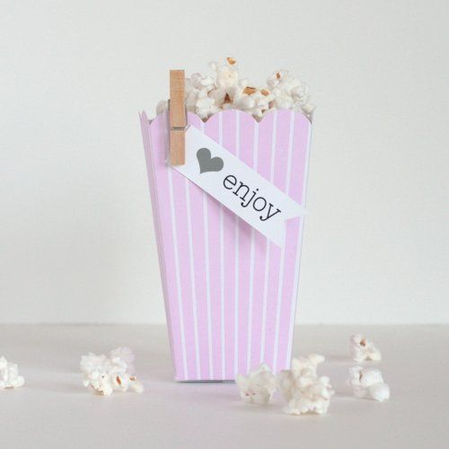 Pink Striped Popcorn Favor Boxes   Think some popcorn will be nice too!