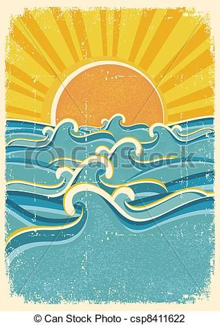 Vector - Sea waves and yellow sun on old paper texture ...