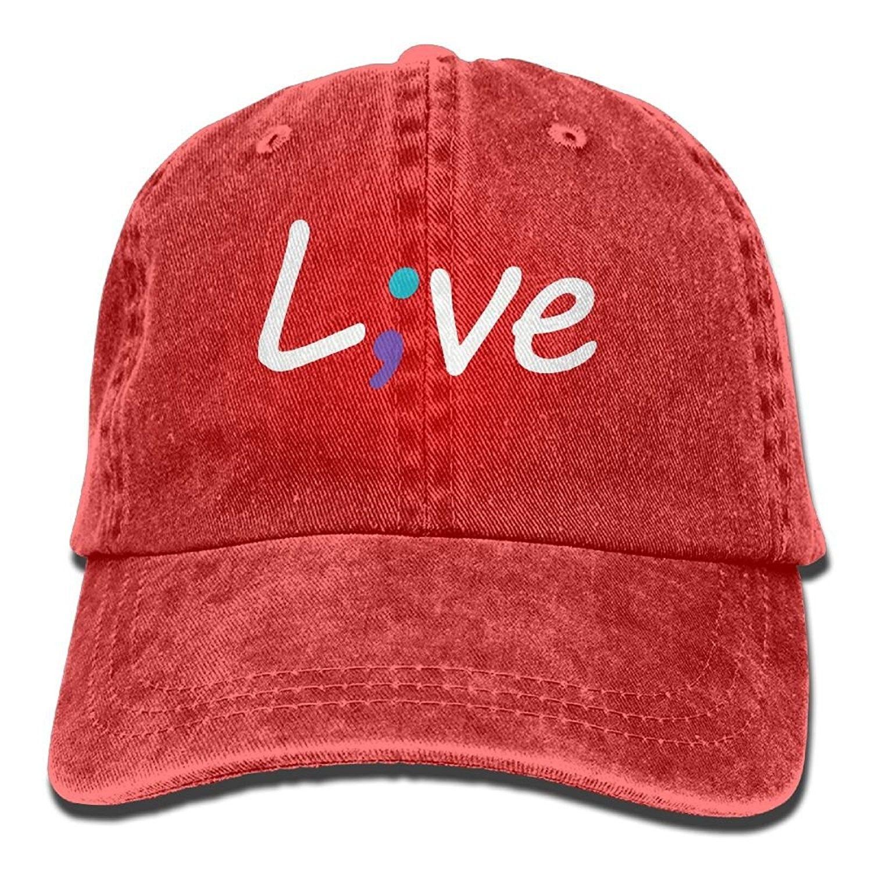 d609cbe07efdd Men Women Suicide Prevention Awareness Live Love Semicolon Denim Jeanet Baseball  Hat Adjustable Trucker Cap -