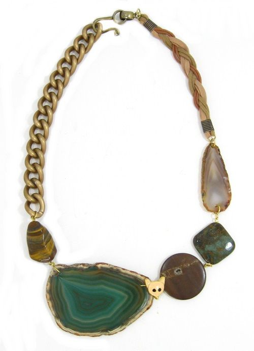 Green agate with Tigers Eye.