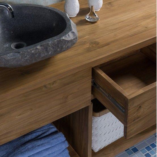 ensemble de salle de bain en bois de teck 145 cm Salle de bains