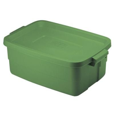 Rubbermaid 10 Gal Roughneck Storage Tote In Green 1823616 The Home Depot Tote Storage Rubbermaid Solar Shower