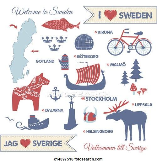 Clip Art Of Set With Symbols And Map Of Sweden K Search - Sweden map search