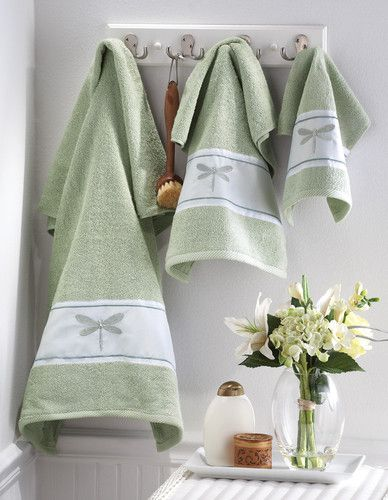 Dragonfly Botanical Green Bathroom Bath Towel Set Silver Embroidered Decor Ebay