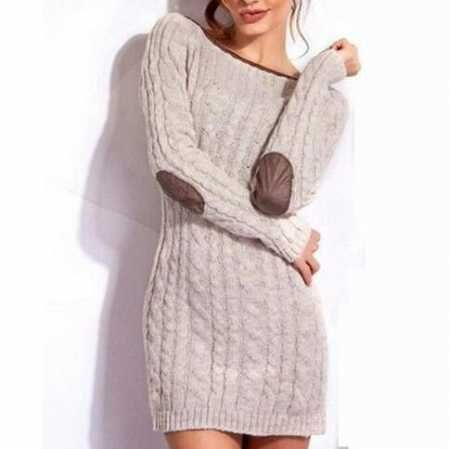 Womens cable knit sweater dress with elbow patches for autumn wear ...