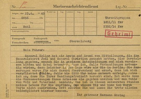 "Hermann Goering's April 24, 1945 telegram to Adolf Hitler, marked ""Geheim!,"" or ""Secret!"" - Courtesy of Alexander Historical Auctions"