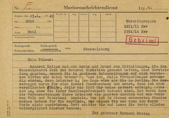 "Hermann Goering's April 24, 1945 telegram to Adolf Hitler, marked ""Geheim!,"" or ""Secret!"" - Courtesy of Alexander Historical Auctions"