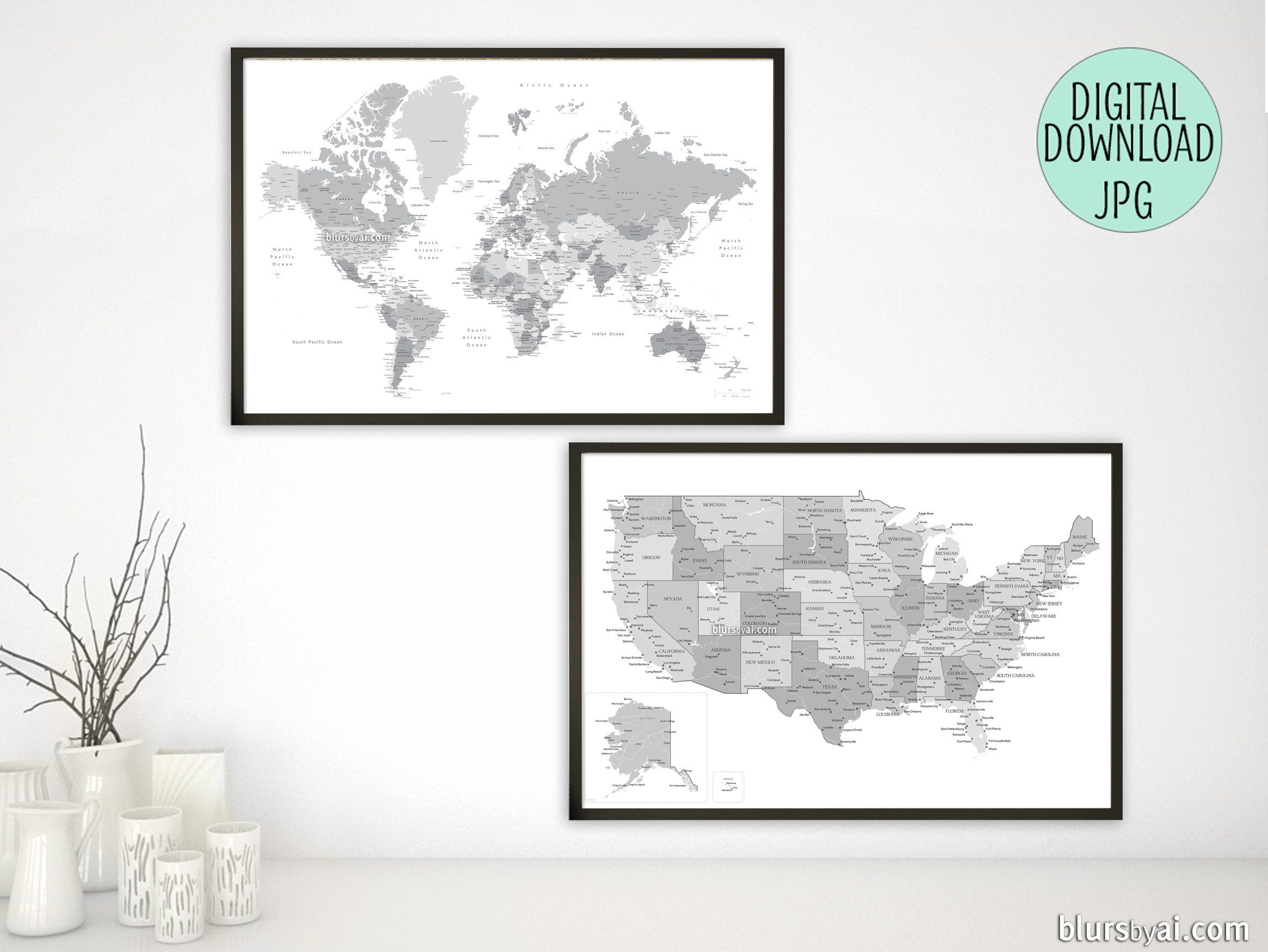 Printable matching world map and US map with cities in grayscale ...