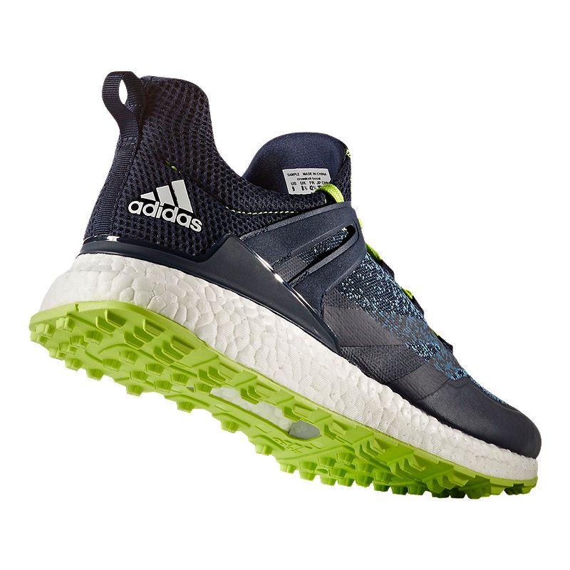 Adidas Golf Men S Crossknit Boost Golf Shoes Navy Solar Green Golf Shoes Adidas Golf Mens Golf