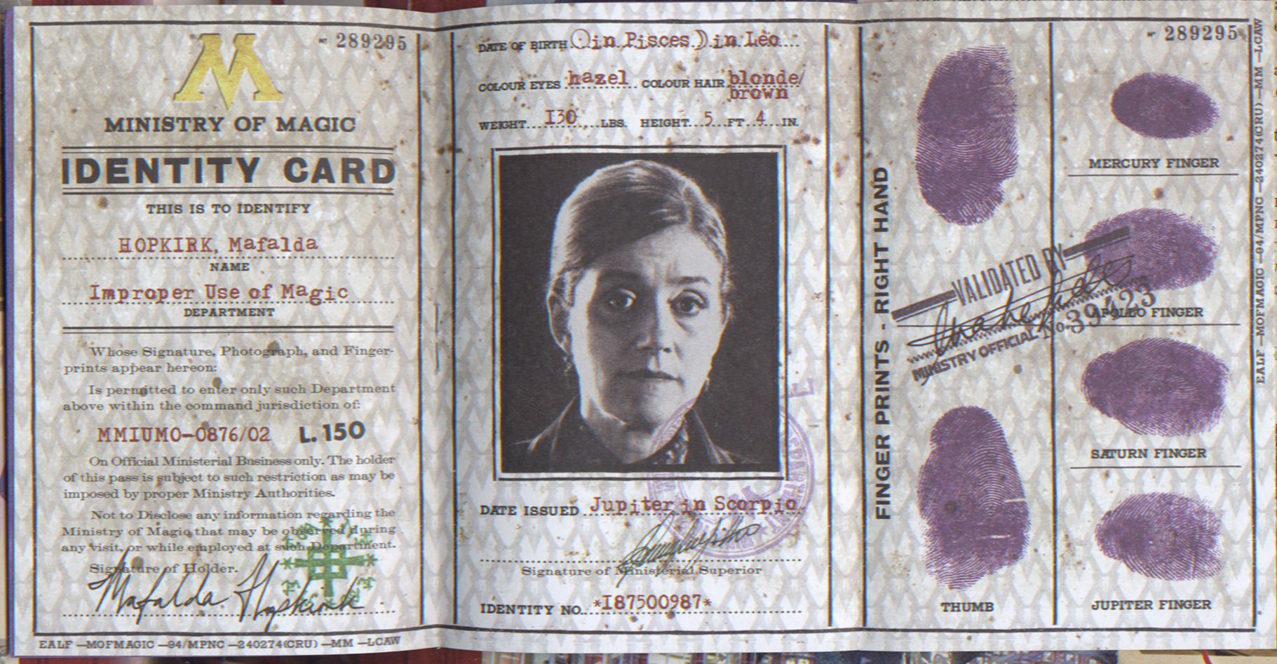 Ministry Of Magic Identity Card Ministry Of Magic Harry Potter Printables Harry Potter Miniatures