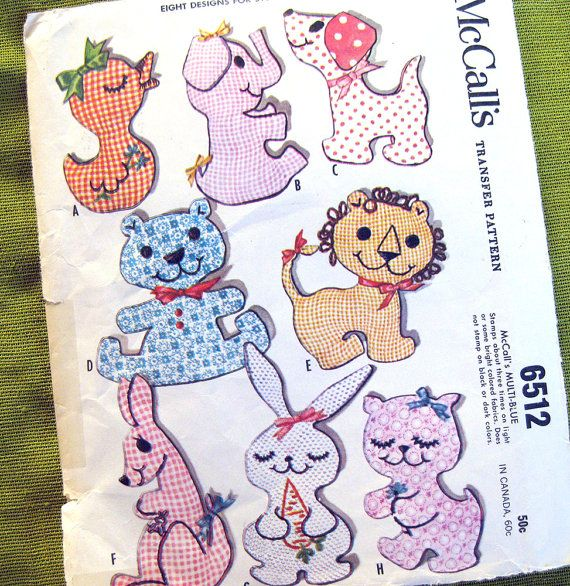 60s Vintage Stuffed Toy Sewing Pattern McCall\'s 6512 - Bear Cat ...