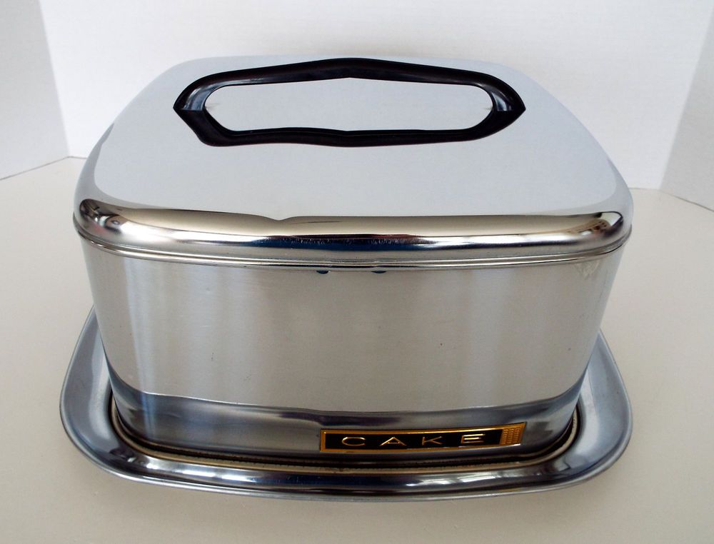 Chrome cake carrier lincoln beauty ware plastic handle mid