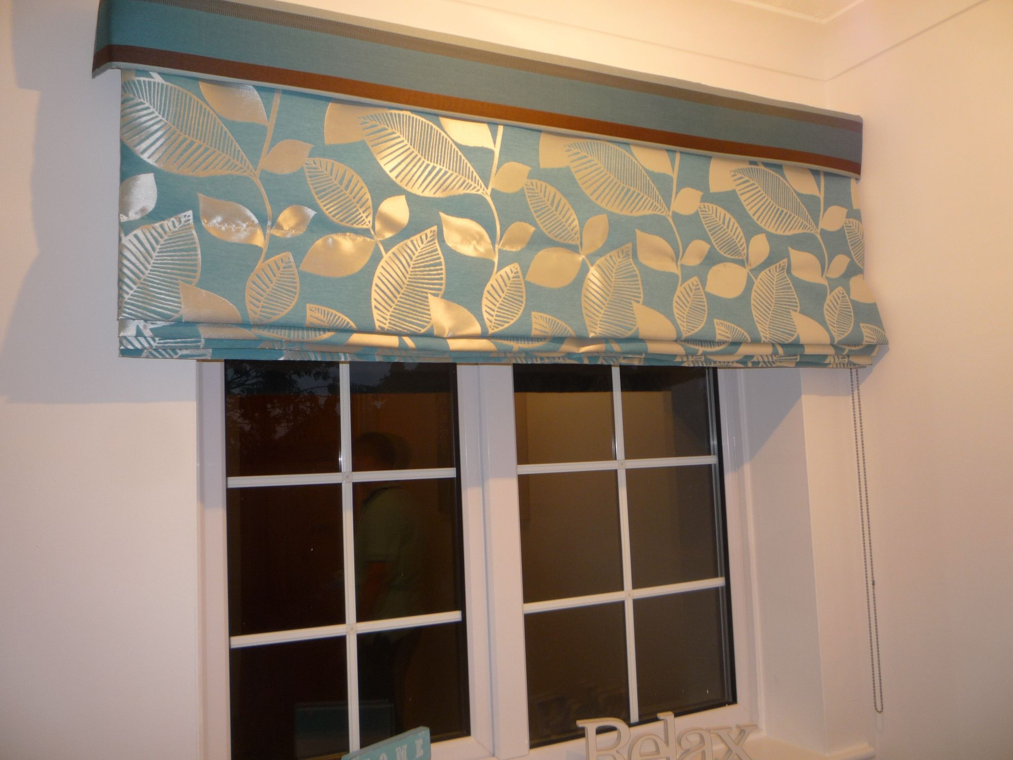 Teal roman with contrast feature pelmet blinds pinterest roman