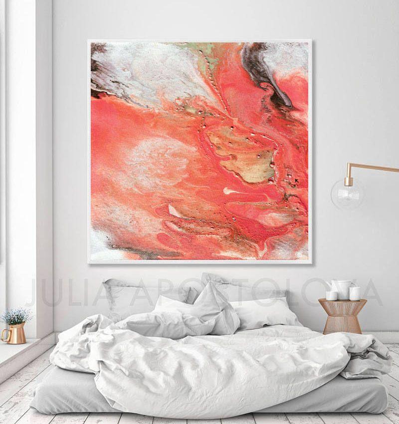 #Large #Canvas #Watercolor #Art #Coral #Print #Salmon #Peach #Color #Decor # Minimalist #Art #MinimalistPainting #White #Abstract #ArtPrint ...