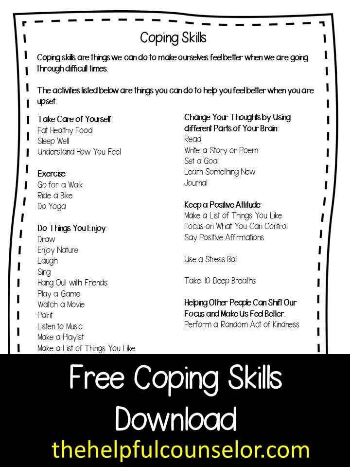 Free Coping Skills Download And New Counseling Games And Activities The Helpful Counselor Coping Skills Activities Coping Skills Counseling Games