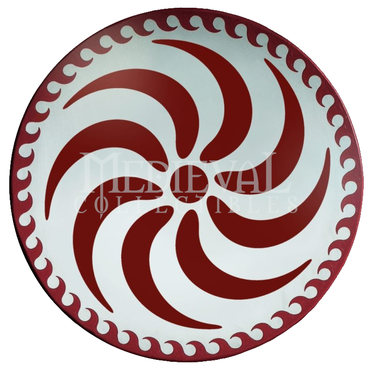 The Wooden Round Greek Red Spiral Shield is a simple and ...