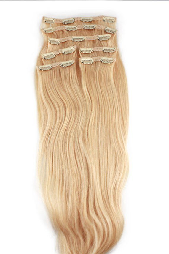 Platinum Blonde Clip In Human Hair Extensions Color 613