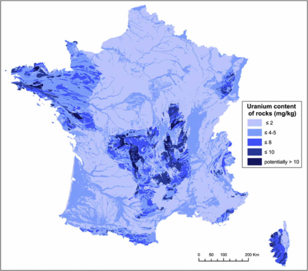 Teneur En Uranium Dans L Hexagone France Geographie Carte De France