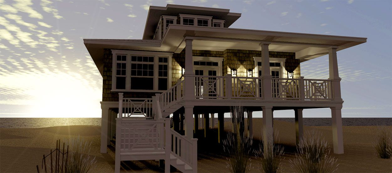 Calusa Cottage Front Sunset Beach House Design House On Stilts Beach House Plans