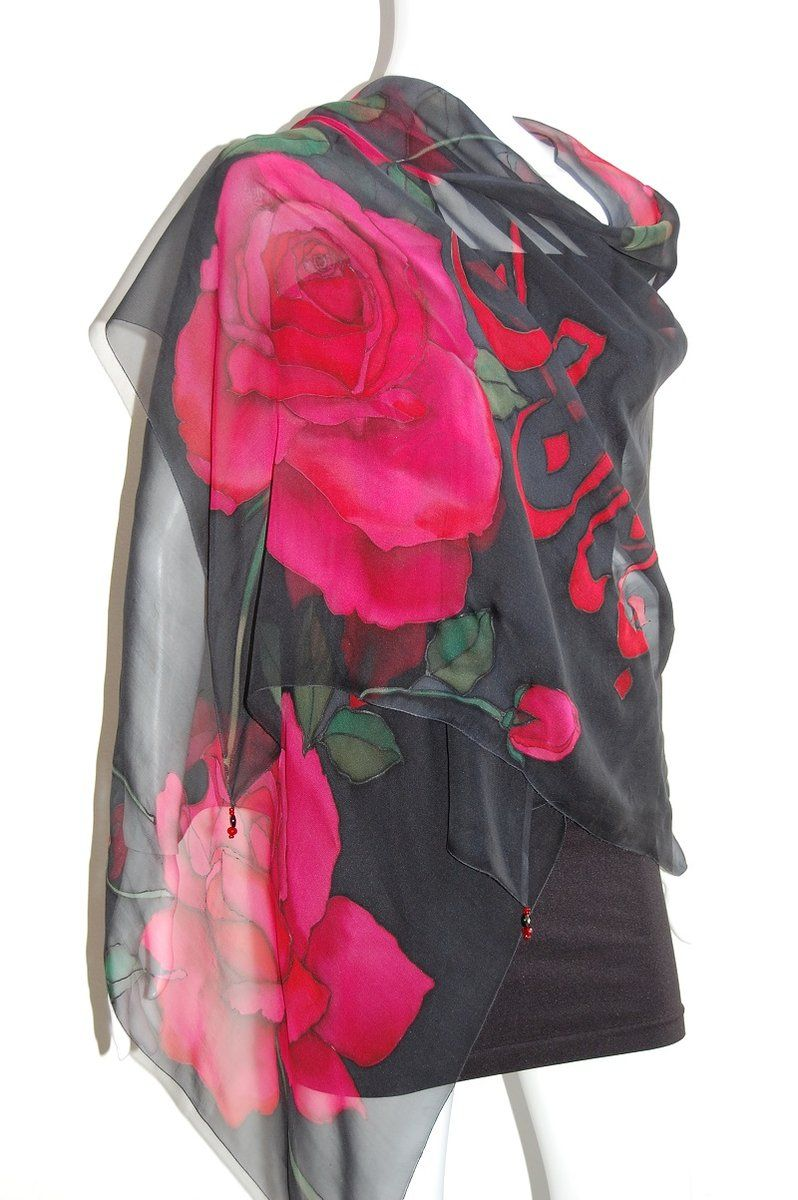 Description Overview Our silk chiffon shawls gracefully showcase every attention to detail that silk painting requires. The design is drawn freehan...